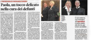 Articolo di Giornale su Paola De Florentiis Onoranze Funebri a Pescara